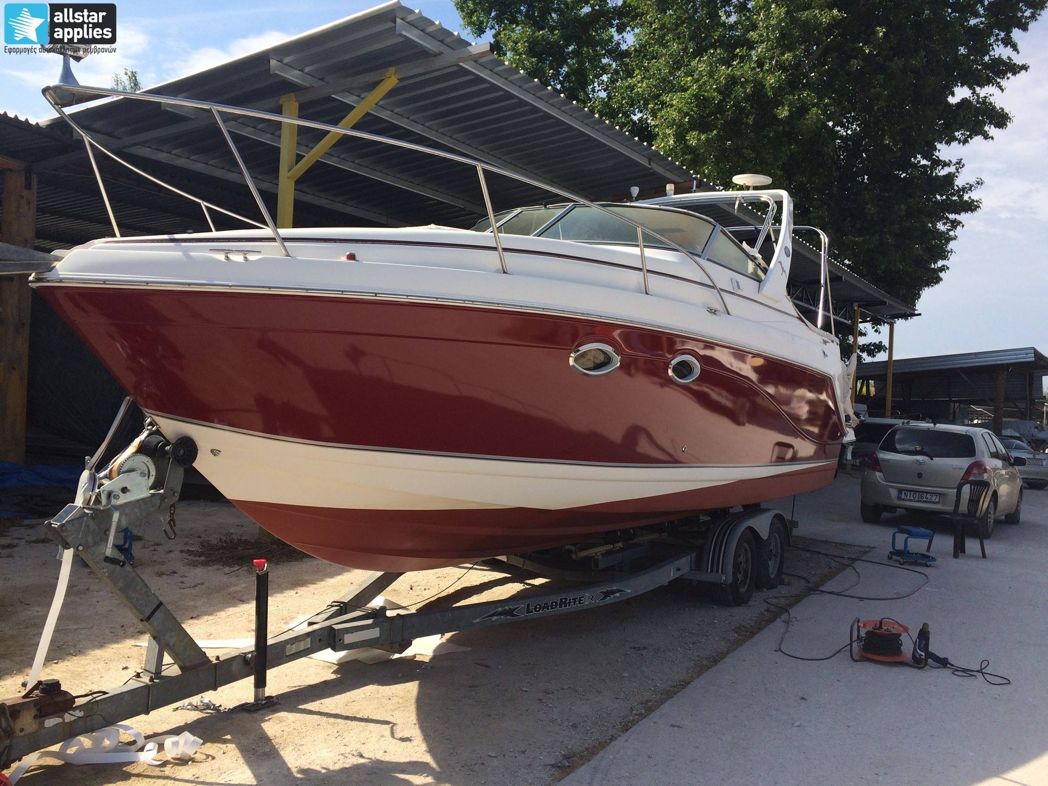 Rinker-Boat-32ft-Red-Gloss-Burgundy-1