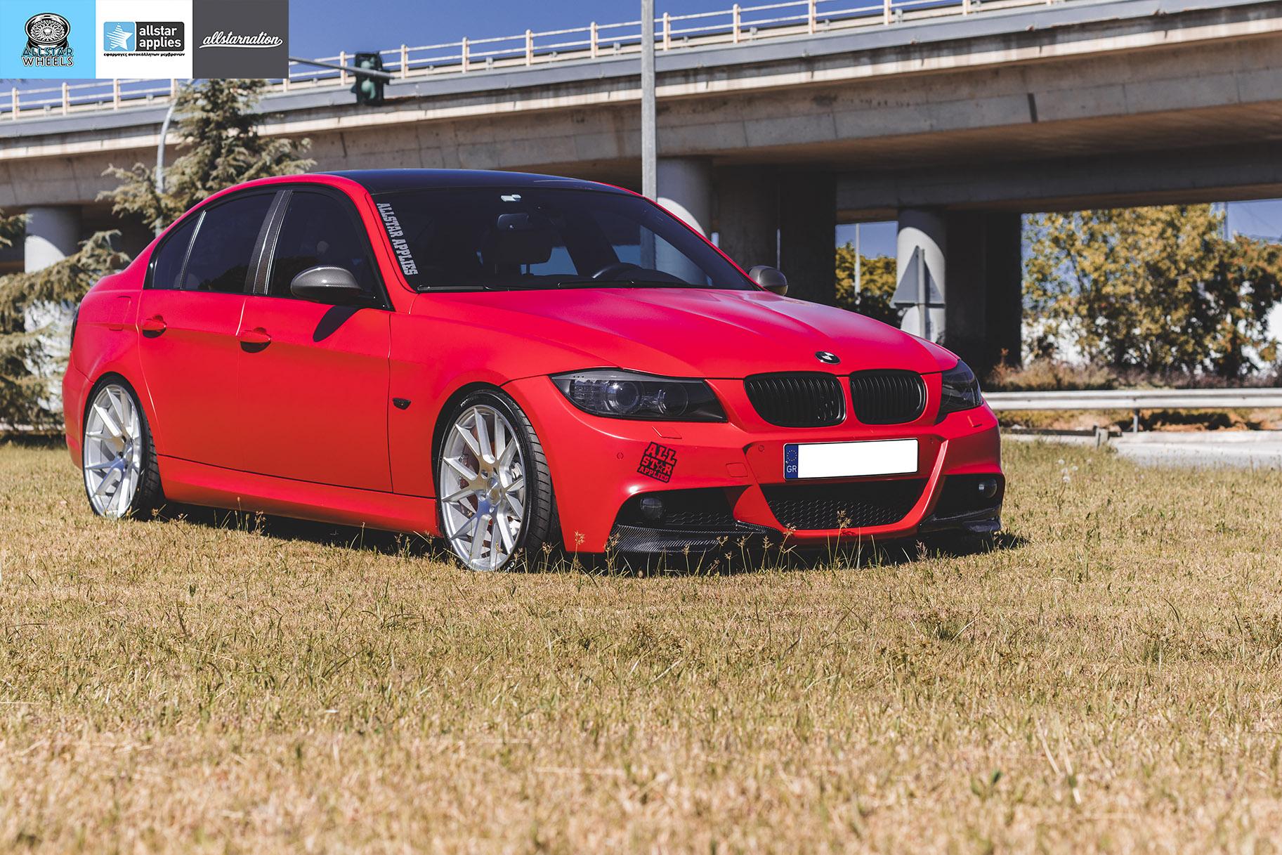 BMW E90 M-Pack - Satin Imperial Red μεμβράνες αλλαγής χρώματος θεσσαλονίκη allstar applies