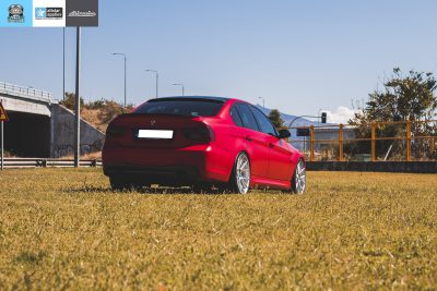 BMW E90 M-Pack - Satin Imperial Red αλλαγή χρώματος με αυτοκόλλητα θεσσαλονίκη allstar applies
