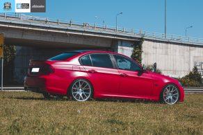 BMW E90 M-Pack - Satin Imperial Red αυτοκόλλητα αλλαγής χρώματος θεσσαλονίκη allstar applies