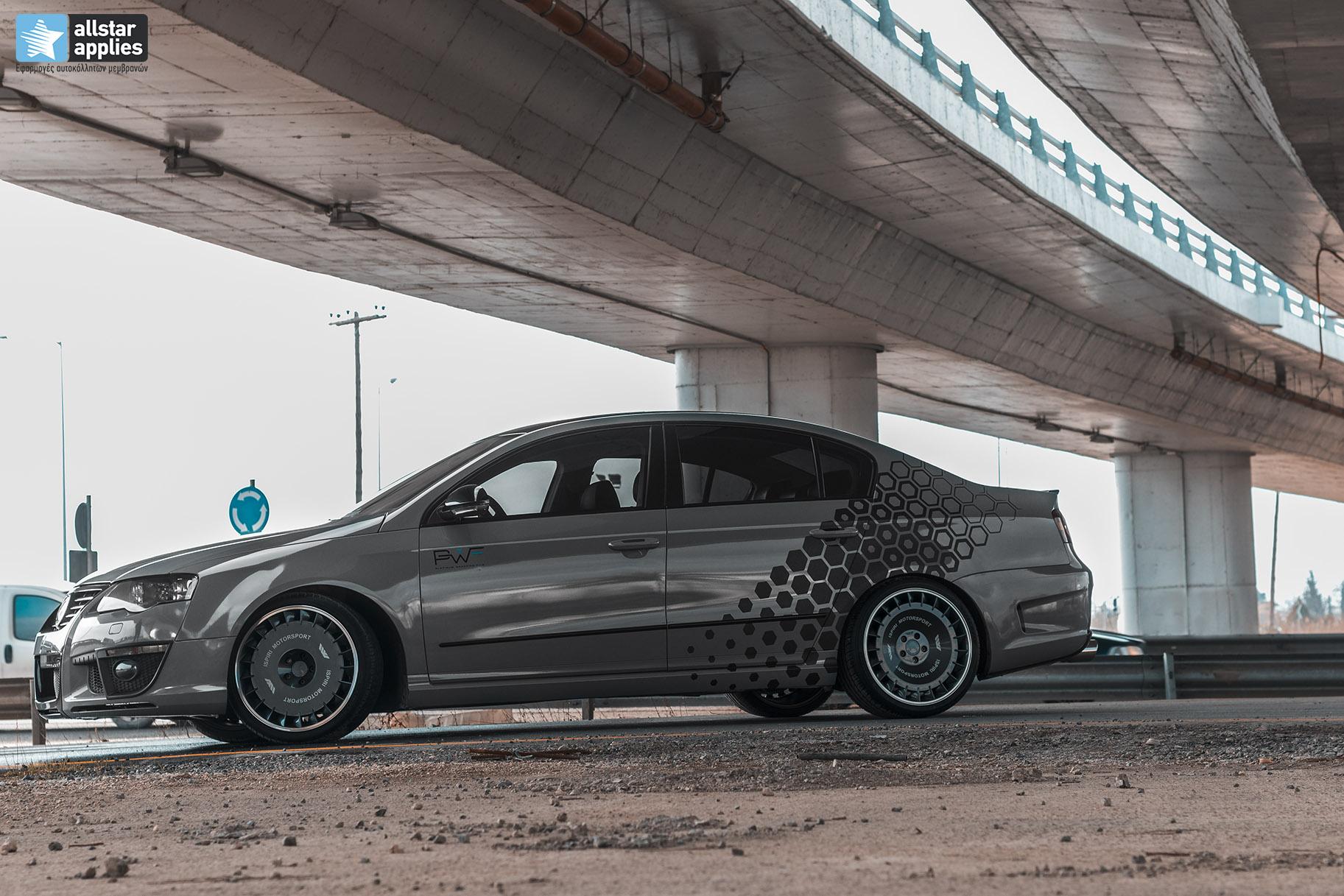 VW Passat - Nardo grey + honeycomb design 3