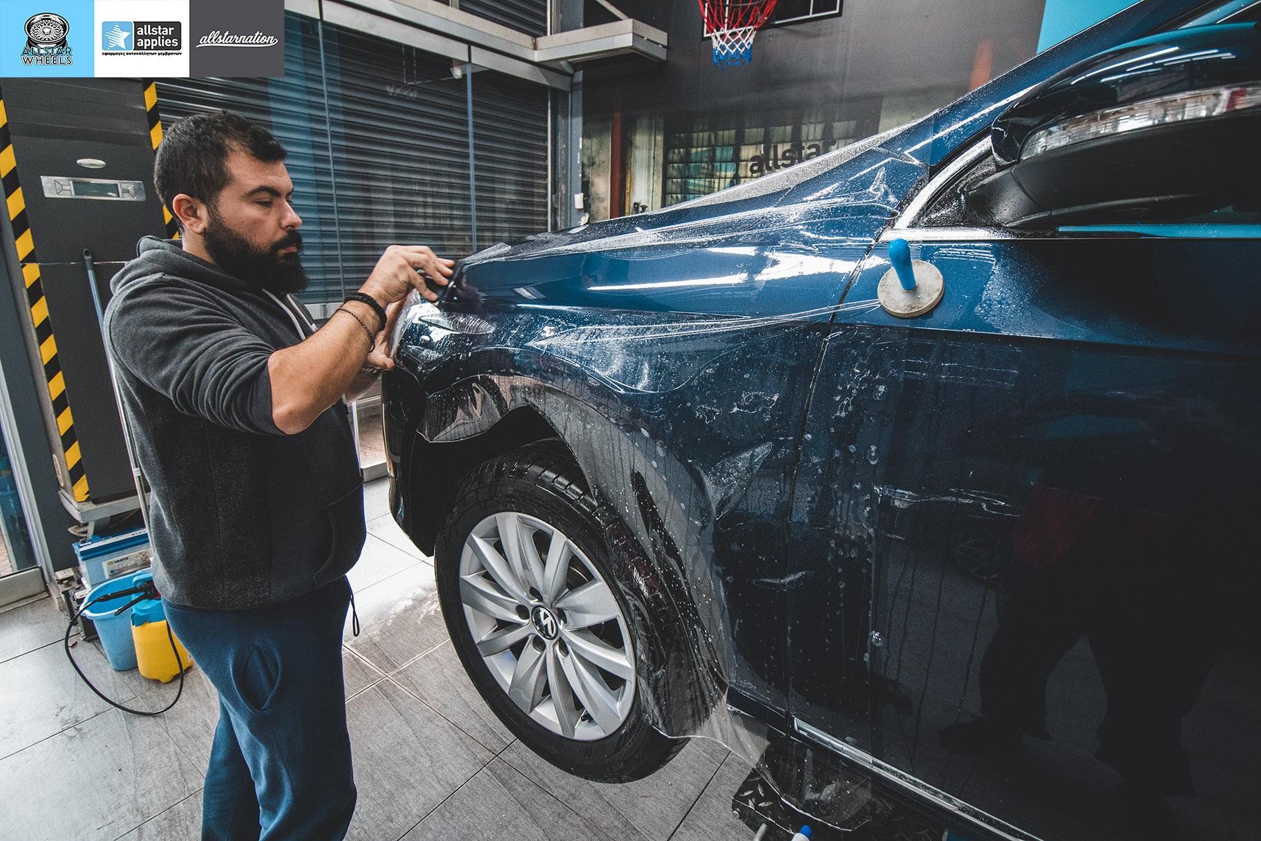 Αυτοκόλλητα προστασίας φαναριού σε VW Passat στη θεσσαλονίκη Allstar Applies