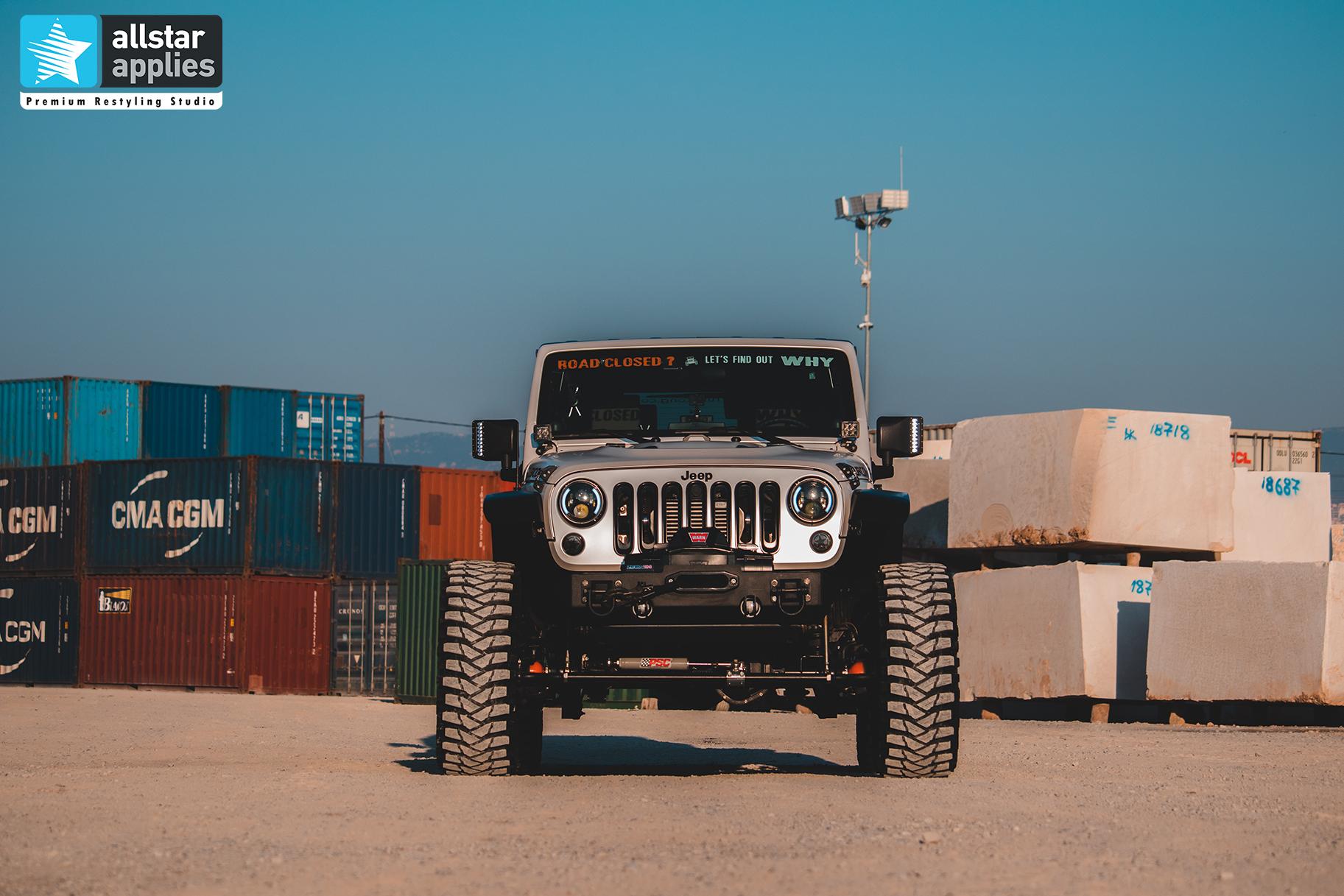 Αλλαγή χρώματος με μεμβράνες σε Jeep Wrangler στη Θεσσαλονίκη Allstar applies