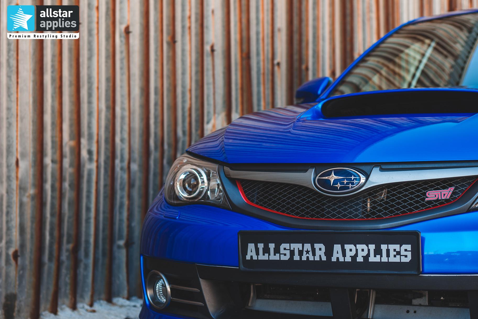 Αλλαγή χρώματος αυτοκινήτου με αυτοκόλλητα σε subaru impreza wrx στη Θεσσαλονίκη Allstar Applies